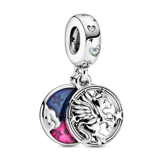 Pandora Magical Unicorn Enamel & CZ Double Dangle Charm