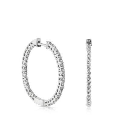 Inside Out Diamond Hoop Earrings 14K, 1 ctw.