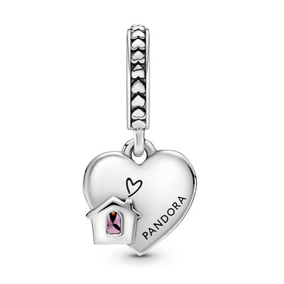 Pandora Love My Home Heart Crystal Dangle Charm