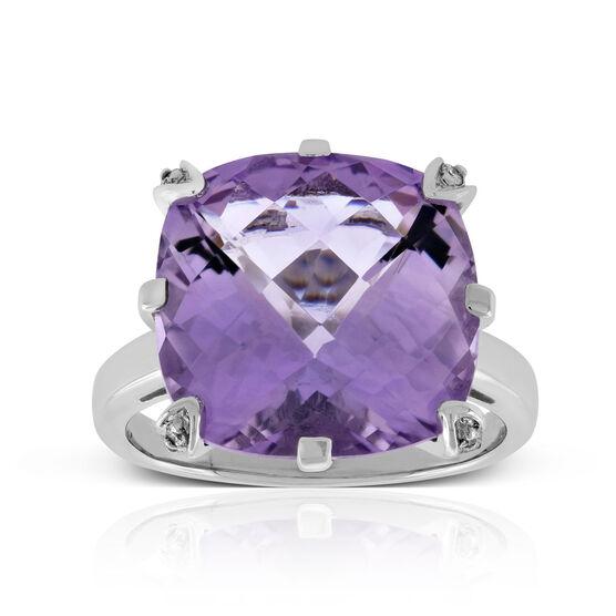Checkerboard Amethyst & Diamond Ring 14K