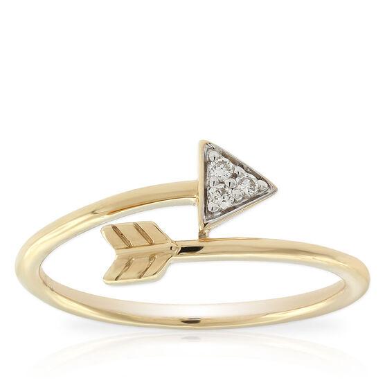 Diamond Arrow Midi Ring 14K