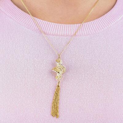 Toscano Corkscrew Tassle Necklace 14K