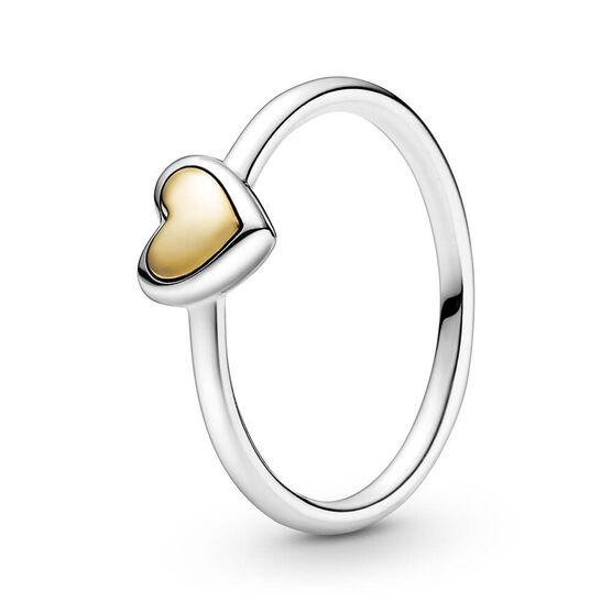 Pandora Domed Golden Heart Ring, 14K & Silver