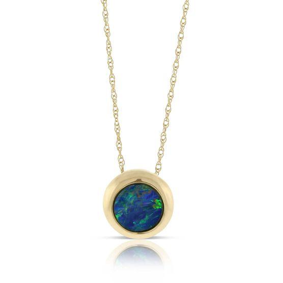 Opal Doublet Button Pendant 14K