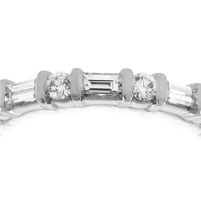 Baguette & Round Diamond Ring in Platinum, 1/3 ctw.