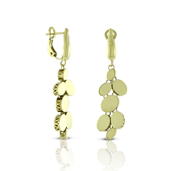 Toscano Mirrored Oval Disc Dangle Earrings 14K