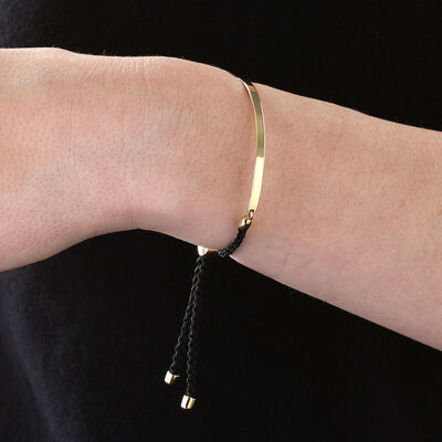 Bolo Bangle Bracelet with Black Cord 14K