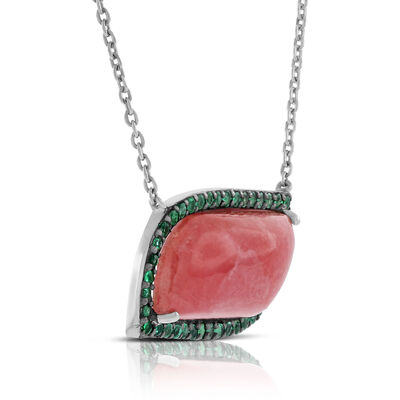Lisa Bridge Rhodochrosite & Emerald Necklace