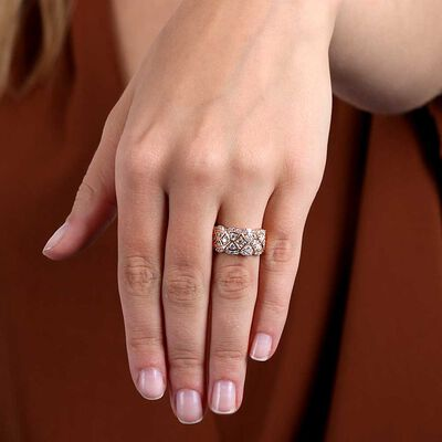 Rose Gold Scalloped Diamond Ring 14K