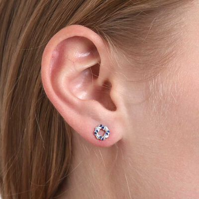 Sapphire & Diamond Swirl Knot Earrings 14K