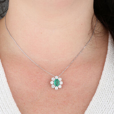 Emerald  & Diamond Halo Necklace 14K