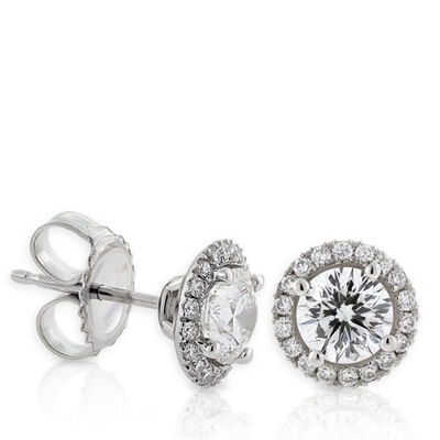 Signature Forevermark Diamond Halo Earrings 18K, 1 ctw. Centers