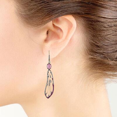 Rose Gold Pink Sapphire, Garnet & Diamond Wing Earrings, 14K