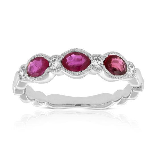Ruby & Diamond Ring Band 14K