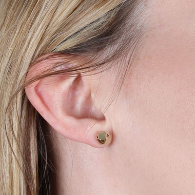 Geometric Faceted Stud Earrings 14K
