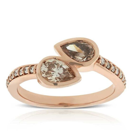 Rose Gold Brown & White Diamond Bypass Ring 14K