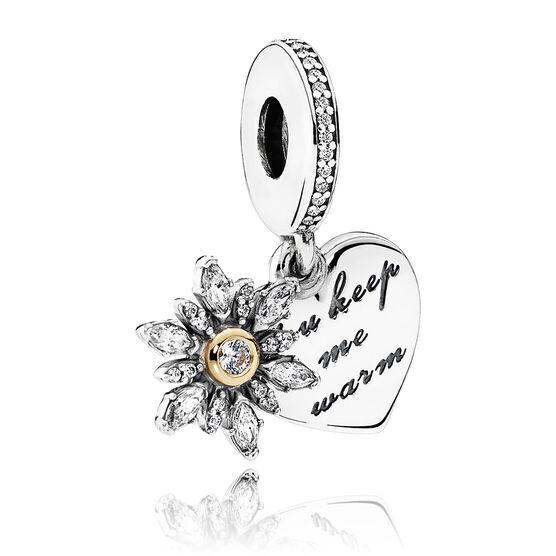 Pandora Snowflake CZ Heart Dangle Charm, Silver & 14K