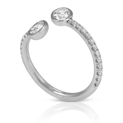 Oval Diamond Bypass Ring 18K