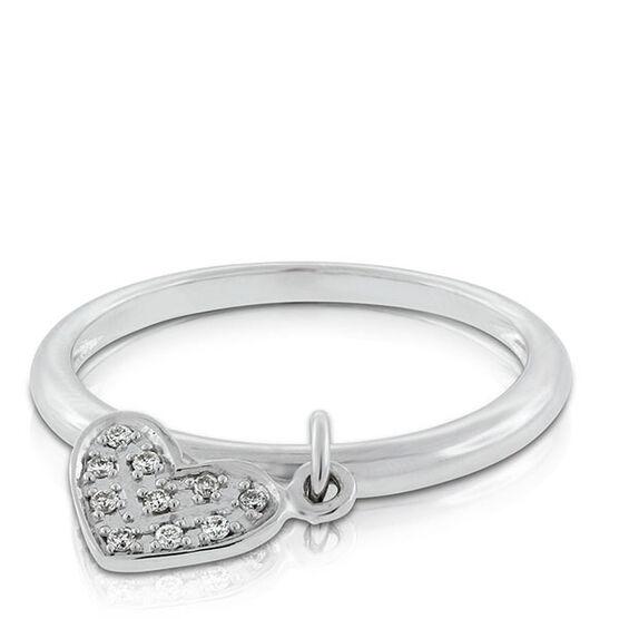 Diamond Heart Dangle Ring 14K