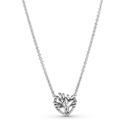 Pandora Heart Family Tree CZ Collier Necklace