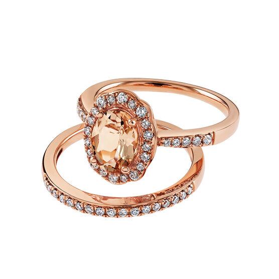 Rose Gold Morganite & Diamond Halo Wedding Set 14K