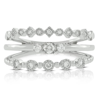 Three Band Stacked Diamond Ring 14K