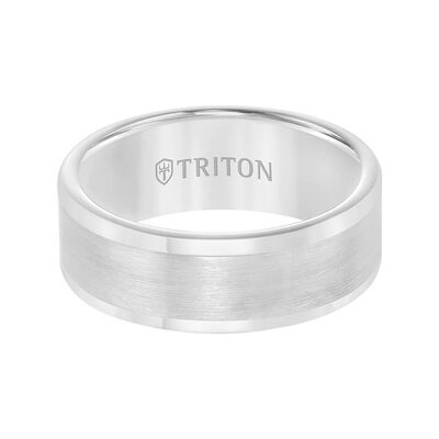 TRITON Contemporary Comfort Fit Satin Finish Band in White Tungsten, 8 mm