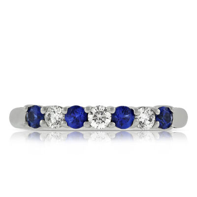 Sapphire & Diamond Band in Platinum