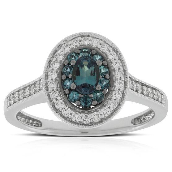 Halo Alexandrite & Diamond Ring 18K