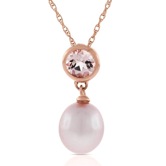 Rose Gold Freshwater Cultured Pearl & Morganite Pendant 14K