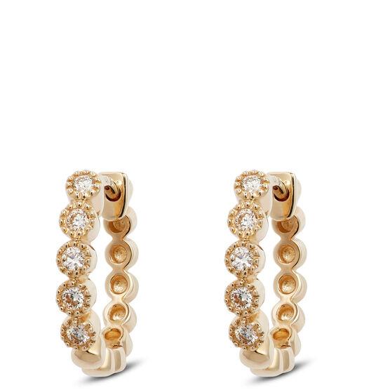 Bezel Set Diamond Huggie Hoop Earrings 14K