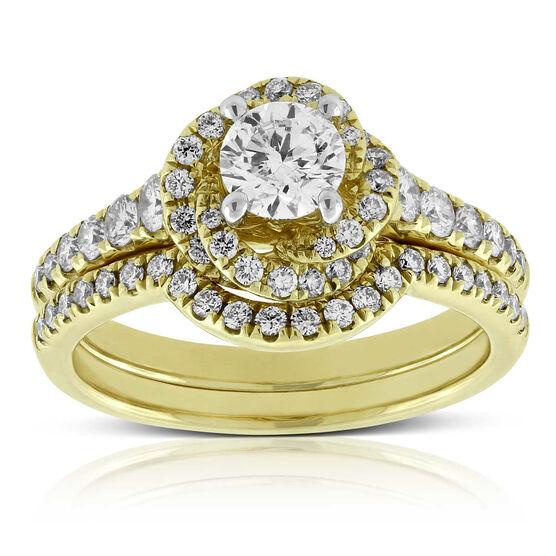 Diamond Encrusted Halo Bridal Set 14K