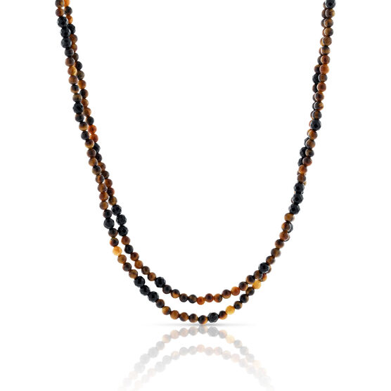 Lisa Bridge Tiger's Eye & Black Onyx Beaded Necklace, 46""