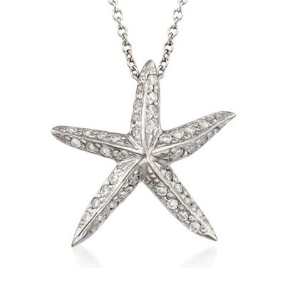 Roberto Coin Tiny Treasures Diamond Starfish Necklace 18K