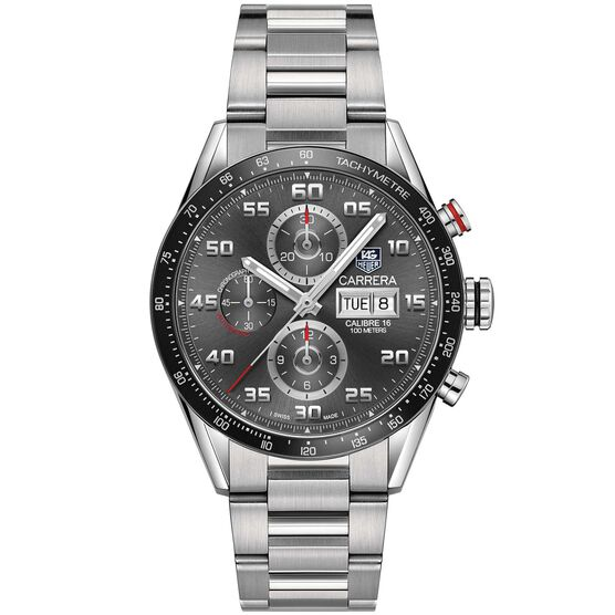 TAG Heuer Carrera Calibre 16 Day Date Automatic Mens Grey Steel Chronograph Watch