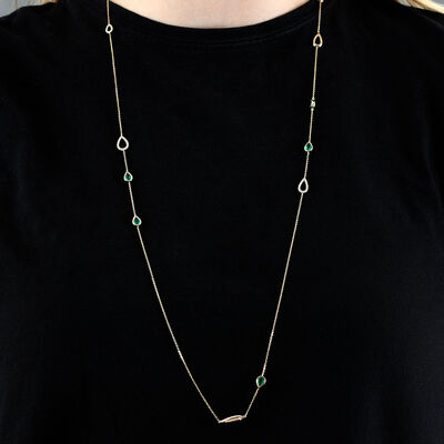 "Emerald & Diamond Pear Station Necklace 14K, 32"""