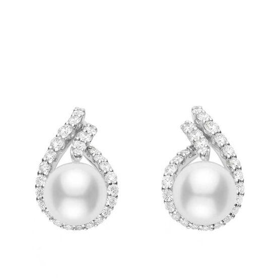 Mikimoto Akoya Cultured Pearl & Diamond Laurel Earrings 18K