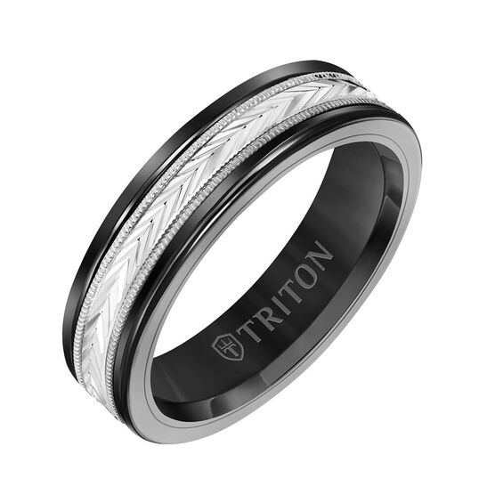 TRITON Custom Comfort Fit Herringbone Band in Black Tungsten & 14K, 6 mm