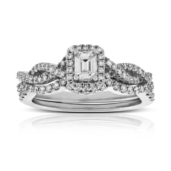 Emerald Cut Diamond Bridal Set 14K