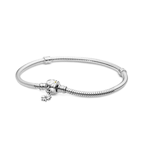 Pandora Moments Daisy Flower Crystals & CZ Clasp Snake Chain Bracelet