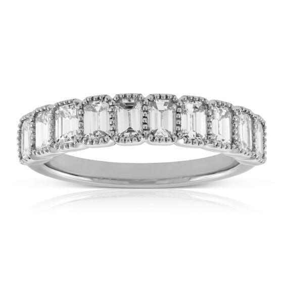 Bezel Set Emerald Cut Diamond Ring 14K