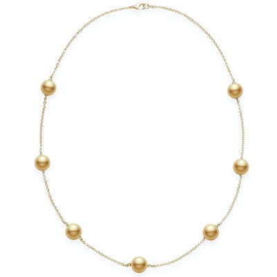 Mikimoto Golden South Sea Cultured Pearl Station Necklace 18K