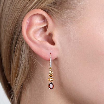 Graduated Color Citrine & Diamond Earrings 14K