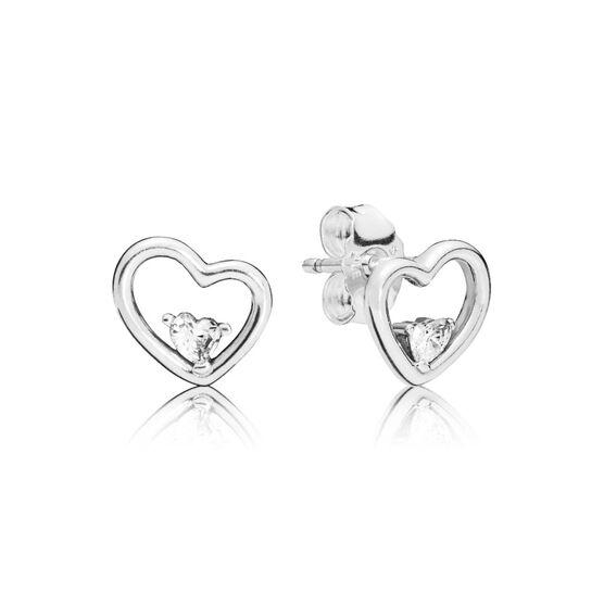 Pandora Asymmetric Hearts of Love CZ Earrings