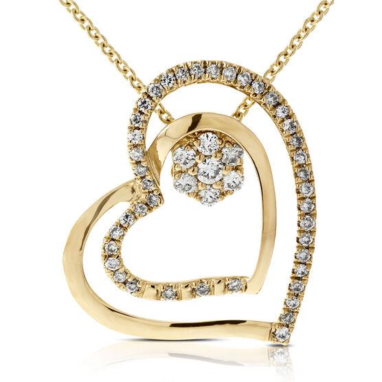 Two Piece Convertible Diamond Heart Pendant 14K