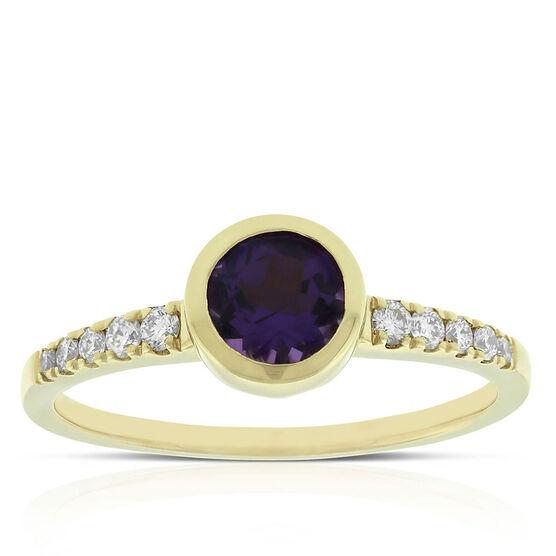 Bezel Set Amethyst & Diamond Ring 14K