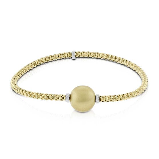 Toscano Satin Ball Bead Stretchy Popcorn Bracelet 14K