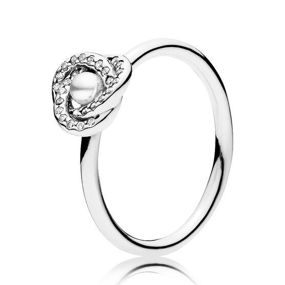 PANDORA Luminous Love Knot Crystal Pearl & CZ Ring