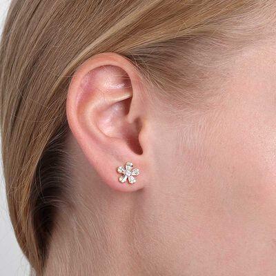 Five Petal Diamond Flower Earrings 14K