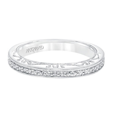 ArtCarved Vintage Style Diamond Wedding Band 14K